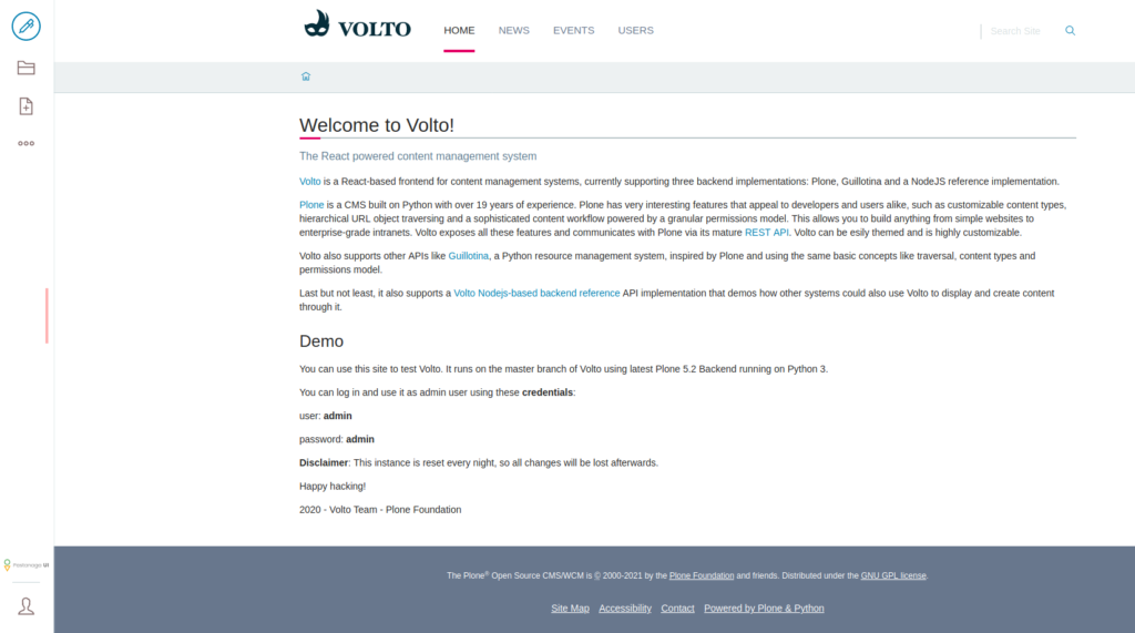 Volto homepage after login as admin user